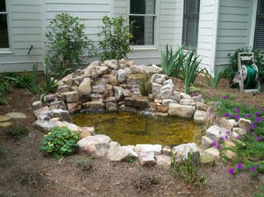small backyard waterscape